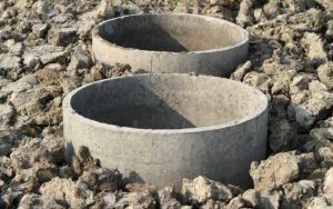 Commercial septic system in the ground